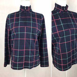 Talbots Navy Plaid 1/4 Zip Pullover Workout Top MP